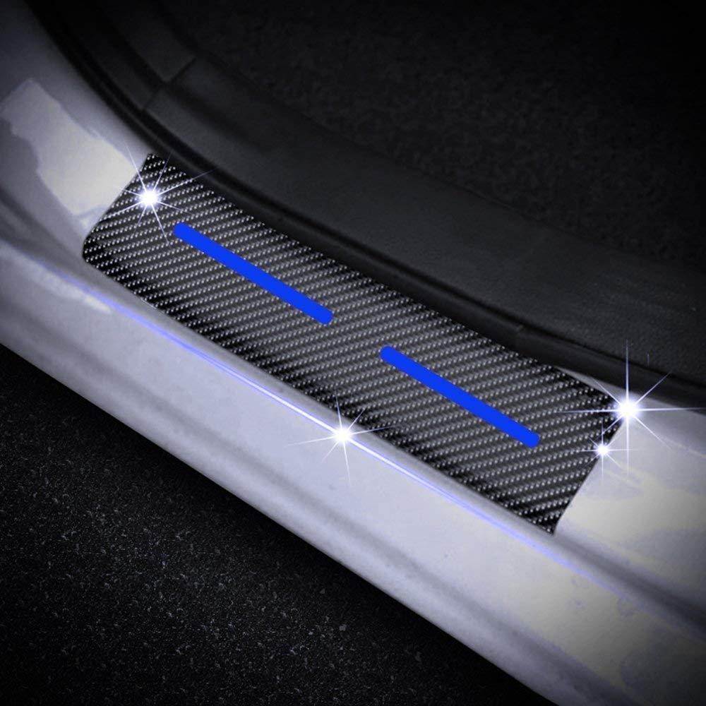Battitacco Auto Esterno Batticalcagno per Picanto Rio Ceed//GT//SW//PRO Cerato Venga Adesivi delle Soglie delle Porte in Fibra di Carbonio Rosso 4 Pezzi