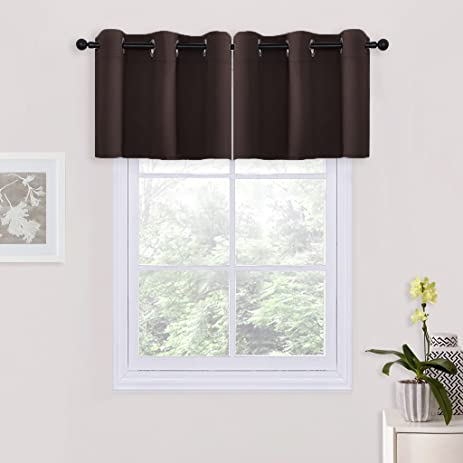 Chocolate Brown Windows Treatments Tier Curtain Valances For Kitchen Basement Dining Room By