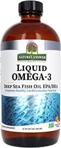 Nature's Answer Liquid Omega-3 | Deep Sea Fish Oil with EPA/DHA Dietary Supplement | Cardiovascular Support | No Preservatives & Gluten-Free 16oz