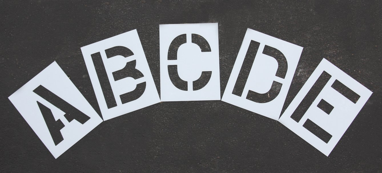 RAE - 12-inch ALPHABET STENCIL KIT - Plastic Letters Paint Stencils, for Use with Any Paint - Great for Pavement Marking - STL-116-8125 by RAE Paint