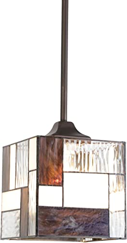 TODOLUZ Tiffany Ceiling Light Fixture with Stained Glass Shade, Cube Victorian 1 Light Chandelier for Kitchen Hallway Dining Room