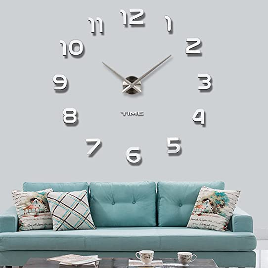 Vangold DIY Wall Clock Large 3d Frameless CLocks For Living Room Decor Silver