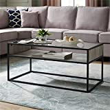 Walker Edison 40 Metal and Glass Coffee Table with Open Shelf - Grey Wash