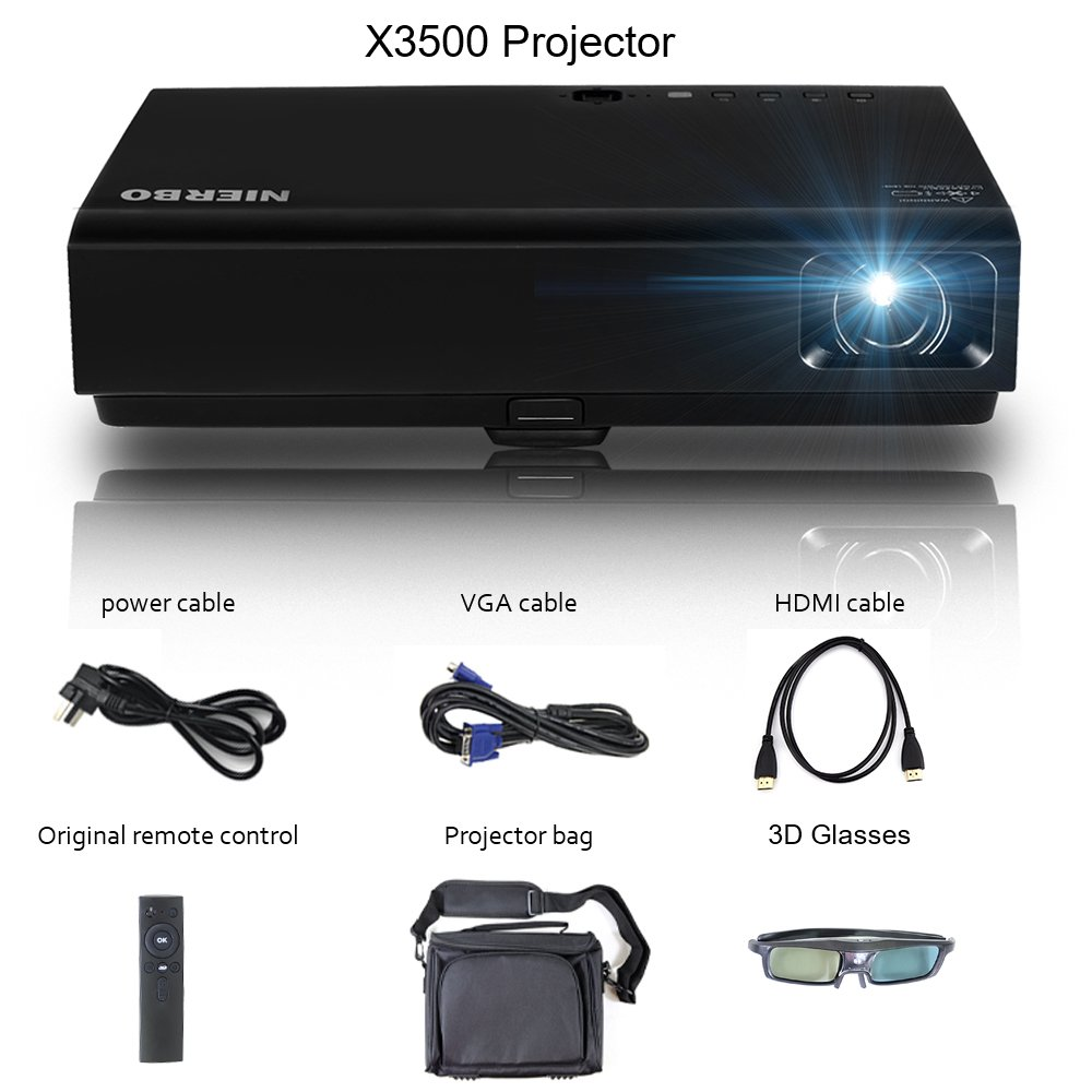 Proyector portátil LED Mini HD proyector, nierbo 3D-DLP Proyector ...