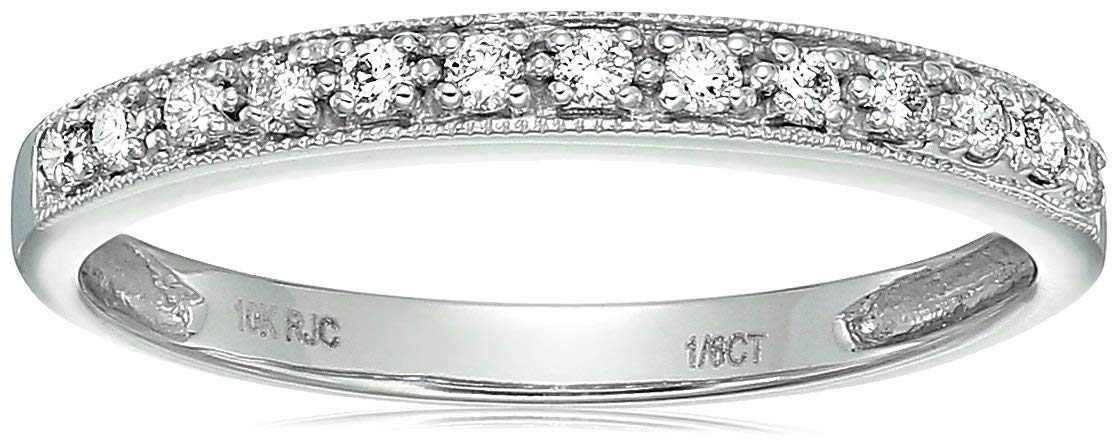 Vir Jewels 1/6 cttw Petite Diamond Wedding Band in 10K White Gold In Size 6.5 by Vir Jewels