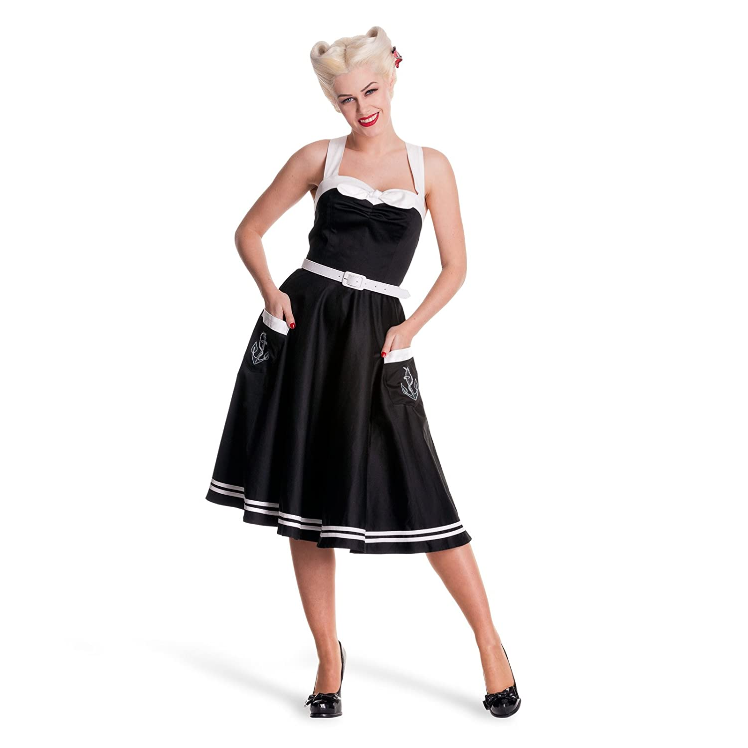 Rockabilly 50s Dress - Siren - Sailor Inspired - Black