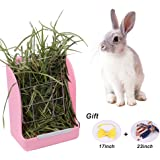 Zdada Indoor and Outdoor Pink Rabbit Feeder Hay Rack,Hay Food Bin Feeder for Small Animals with The Gift of 1pc Triangle Towel and 1pc Bow Tie
