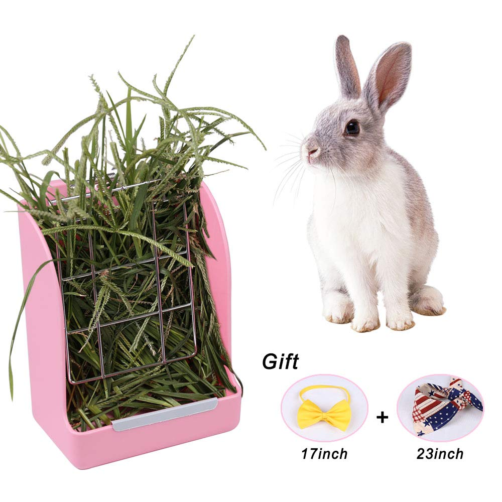 Zdada Indoor and Outdoor Pink Rabbit Feeder Hay Rack,Hay Food Bin Feeder for Small Animals with The Gift of 1pc Triangle Towel and 1pc Bow Tie by Zdada