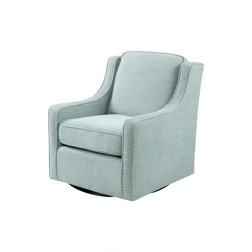 Madison Park Harris Swivel Chair - Solid Wood, Plywood, Metal Base Accent Armchair Modern Classic Style Family Room Sofa Furniture, 28.5'' Wide, Dusty Aqua by Madison Park