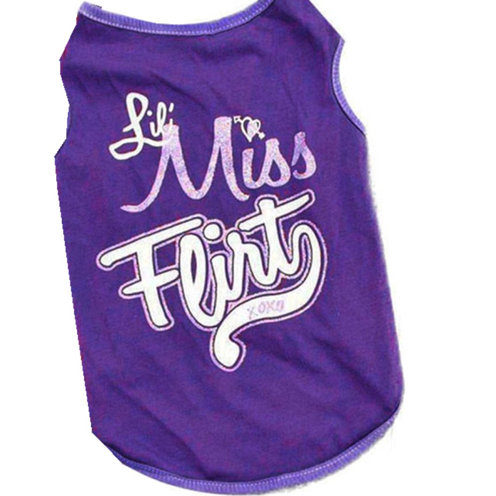 Hot Selling!!Pet Clothes,Woaills Cat Dog Puppy Summer Apparel T-Shirts Vest (M, Purple)