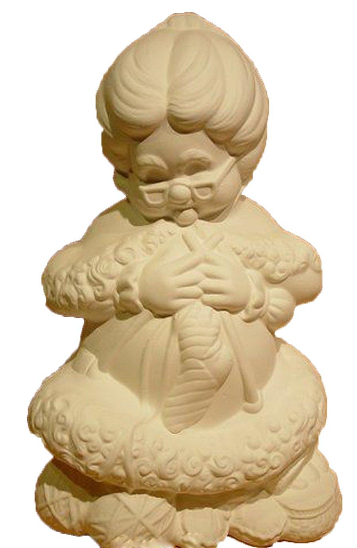 Lg Mrs Santa Sitting Knitting 14'' Ceramic Bisque, Ready To Paint