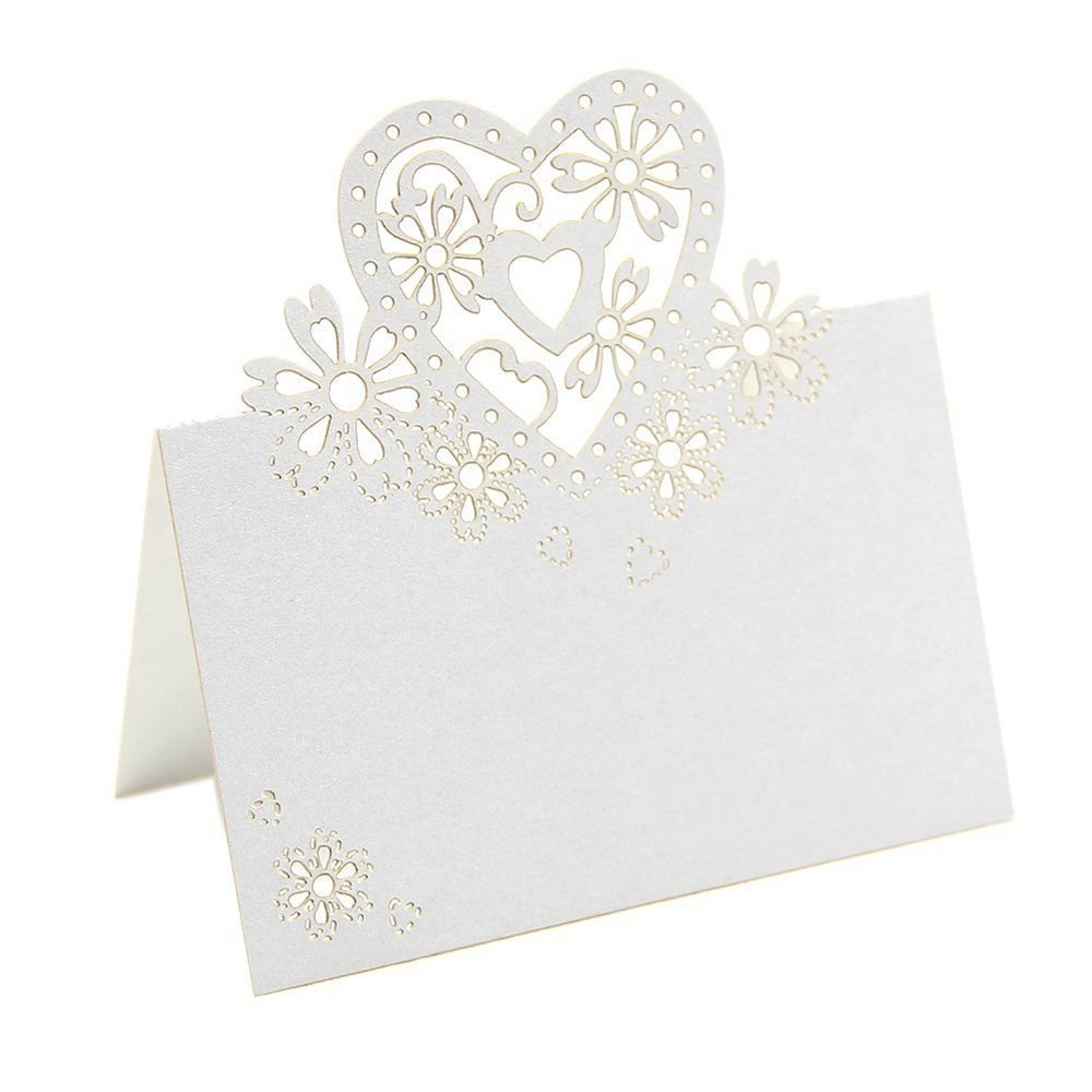 Suxian ca. 50pz Love Heart laser Cut Table Name place Cards wedding Decor (bianco)