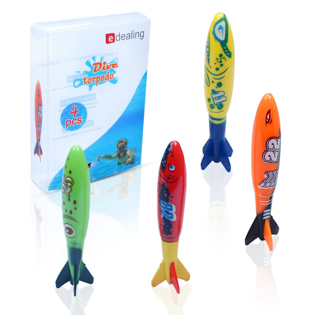 Edealing Set Of 4pcs Toypedo Bandits Piscine Plongée Summer Game with Edealing keychain KELYDI MRLAK12A