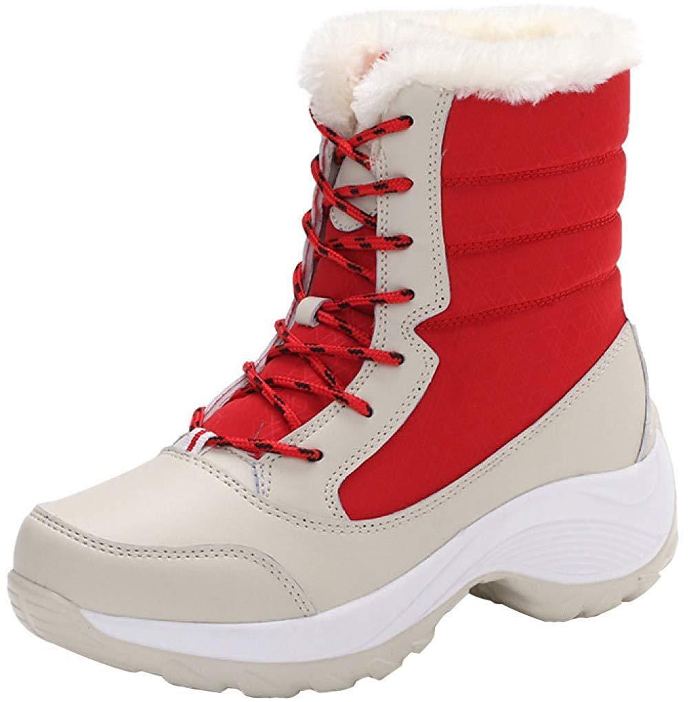 Qiusa Damen Freizeit Schneeschuhe Baumwollschuhe (Farbe   Rot Größe   39EU)