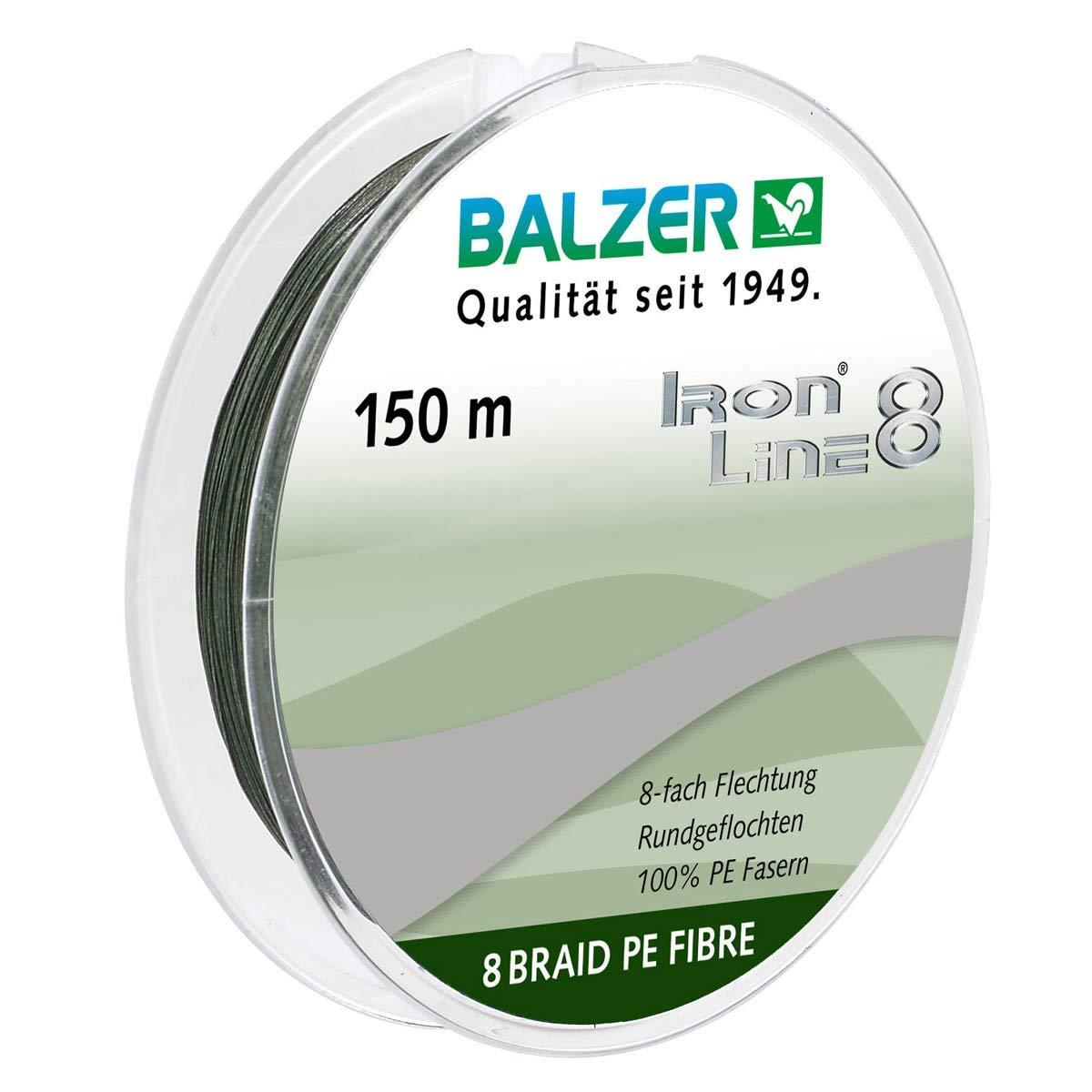BALZER IronLine8 Angel Schnur 8fach rund geflochten grün 0,24mm 19,5kg à 50m TOP