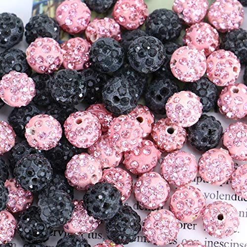 Monrocco 100 Pcs 10mm Shamballa Pave Disco Ball Clay Beads, Round Polymer Clay Charms Beads for Shamballa Jewelry Making (Black and Pink)