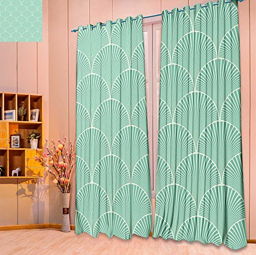 Art Deco Floral Print - Linen Curtains seamless turquoise japanese art deco floral waves pattern vector Print Window Curtain Drapes Set for Living Room(W84 x L84 Pair)