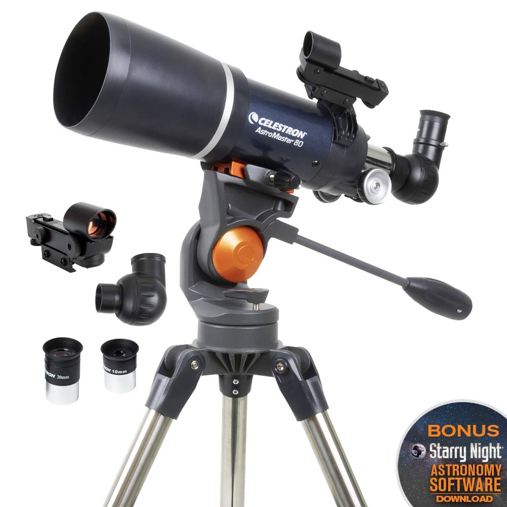 Celestron - AstroMaster 80AZS Refractor Telescope - Refractor Telescope for Beginners - Fully-Coated Glass Optics - Adjustable-Height Tripod - Bonus Astronomy Software Package by Celestron