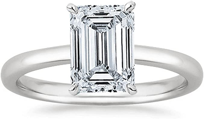3 4 Carat Gia Certified 18k White Gold Solitaire Emerald Cut Diamond Engagement Ring 0 75 Ct I J Color Vs1 Vs2 Clarity Amazon Com