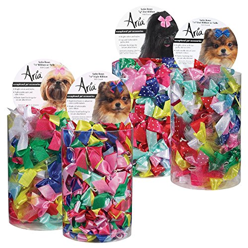 Aria Ribbon with Tulle Bows for Dogs, 100-Piece Canisters by Aria (Image #2)