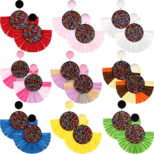 9 Pairs Tassel Hoop Earrings Bohemia Fan Shape Drop Earrings Dangle Hook Eardrop for Women Girls Party Bohemia Dress Accessory (Multicolor G)