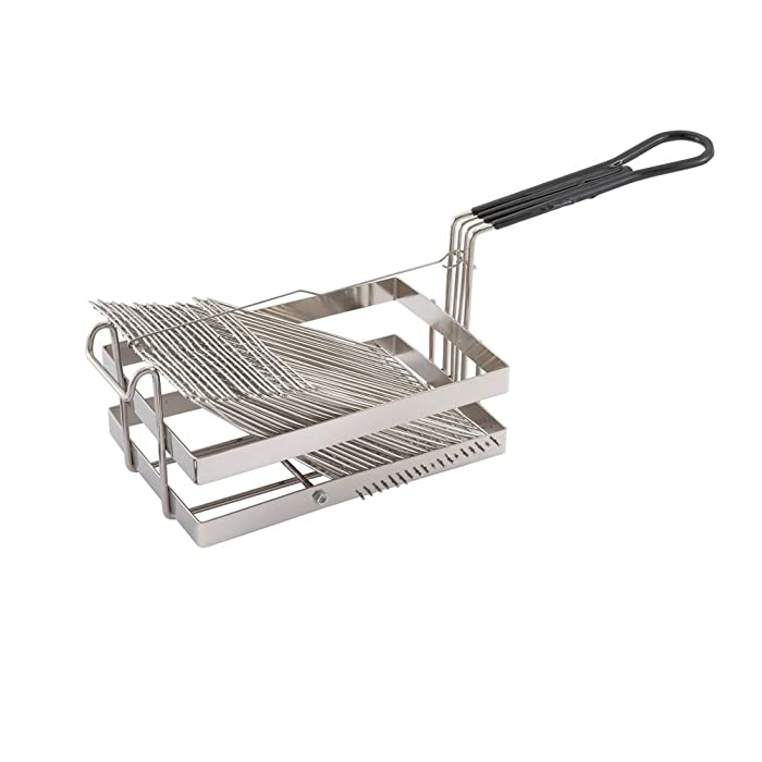 Winco TB-18, Tostada Basket For 18 6-Inch Shells, Deep Fryer Tostada Holder Basket, Commercial Heavy-Duty Tostada Fry Basket with Grip Handle