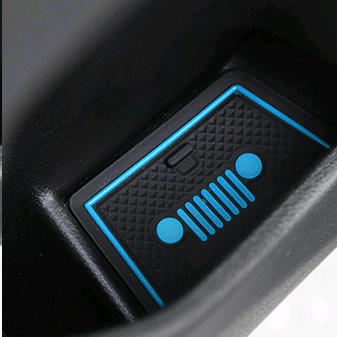 Azul Toppower para el 2018 2019 Jeep Renegade Custom Fit Cup Door Console Liner Accesorios Puerta del autom/óvil Ranura Antideslizante Antipolvo Antipolvo Almohadilla Interior Paquete de 16