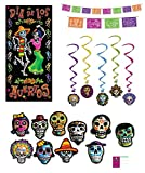 Day of The Dead Party Decorations Picado Style Pennant Banner Cutouts Hanging Whirls Door Poster