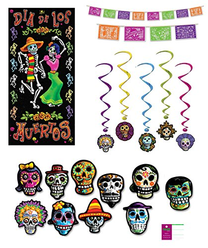 Day of The Dead Party Decorations Picado Style Pennant Banner Cutouts Hanging Whirls Door Poster by FAKKOS Design