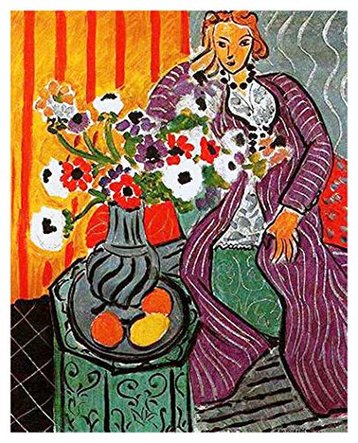 Robe Henri Purple Matisse - JH Lacrocon Purple Robe and Anemones 1937 by Henri Matisse Handpainted Reproduction - 95X120 cm(ca. 38X48 inch) Figure Paintings Canvas Wall Art Unmounted for Living Room