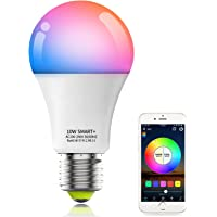 HaoDeng 10W A19 E27 (90W Equivalent) 800Lumens WiFi & Bluetooth 2in1 RGBCW WiFi LED Smart Bulb - Dimmable, Multicolor…