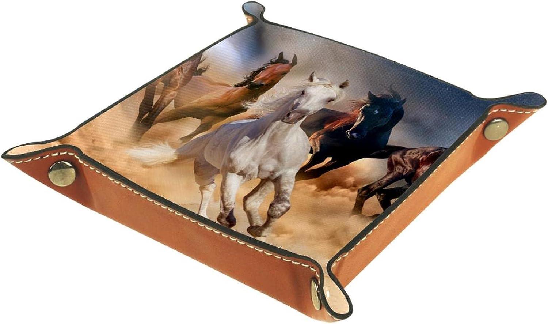 Bandeja de cuero para hombres y mujeres, organizador de escritorio personalizado para joyas, cosméticos, gafas, cartera, oficina, uso en el hogar, caballo rebaño en el desierto, arena tormenta contra
