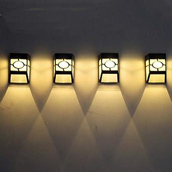 Lámpara de pared de alta calidad luz solar LED exterior jardín pared camino patio iluminación del paisaje blanco fresco @ China_Nature blanco: Amazon.es: Iluminación