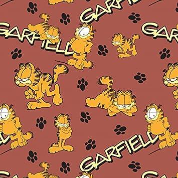 Stoffbreite Garfield Huellas de Gatos Rojo Naranja Marrón - Jersey biostoff biojersey - 145 cm de Ancho - 50 cm por Unidad: Amazon.es: Hogar