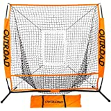OUTROAD Baseball Nets for Batting & Pitching 5 x 5 - Portable Practice Net w/ Bow Frame & Strike Zone Target