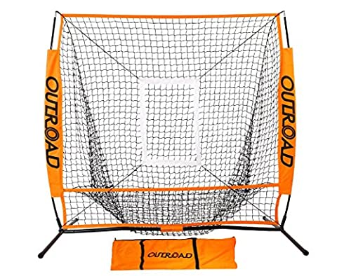 OUTROAD Baseball Nets for Batting & Pitching 5 x 5 - Portable Practice Net w/ Bow Frame & Strike Zone ()