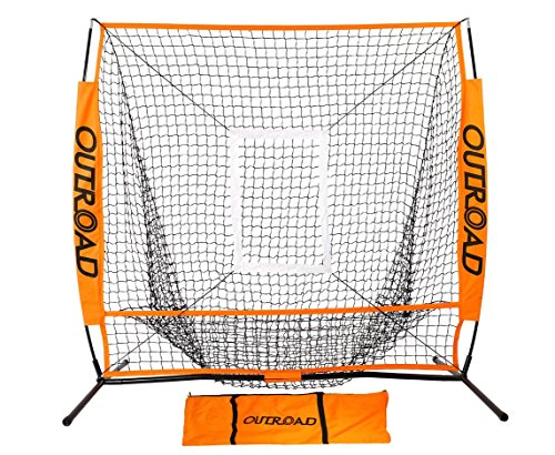 OUTROAD Baseball Nets Batting & Pitching 5 x 5 - Portable Practice Net w/Bow Frame &Strike Zone Target + Ball Caddy - Portable & Removable Ball Holder Batting Practice w/Carry Bag - Baseball Backstop Netting