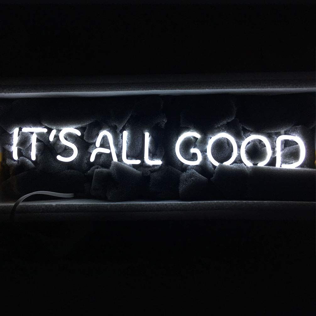 LiQi ITS All Good Neon Sign (18.5'' x 4'' Large)Real Glass Acrylic Panel Handmade for Home Bedroom Pub Hotel Beach Recreational Game Room Decor