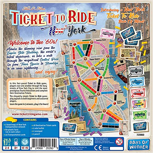 Ticket to Ride New York Board Game   Family Board Game   Board Game for Adults and Family   Taxi Game   Ages 8+   For 2 to 4 players   Average Playtime 10-15 minutes   Made by Days of Wonder