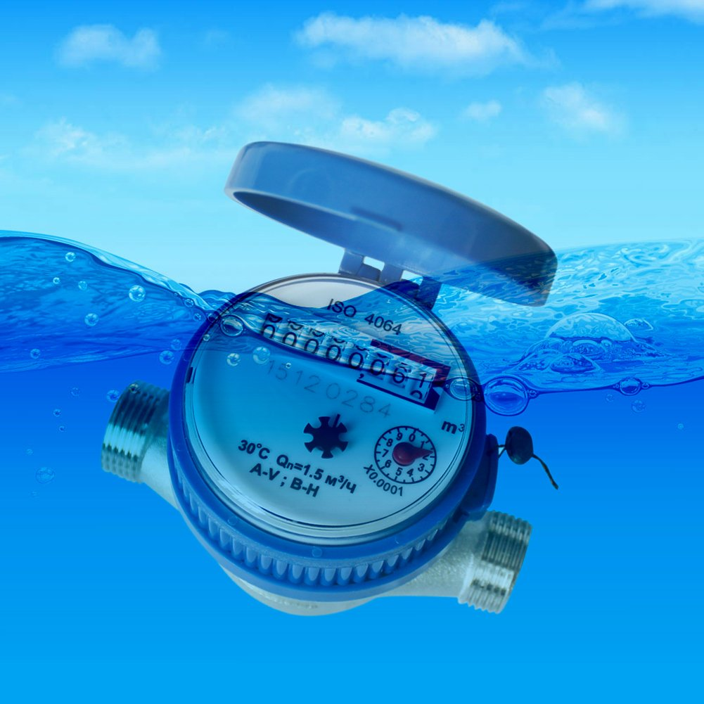 Water Fow Meter,Awakingdemi 15mm 1/2 inch Cold Water Meter Read of Cubic Meters for Garden & Home Using with Free Fittings by Awakingdemi (Image #3)