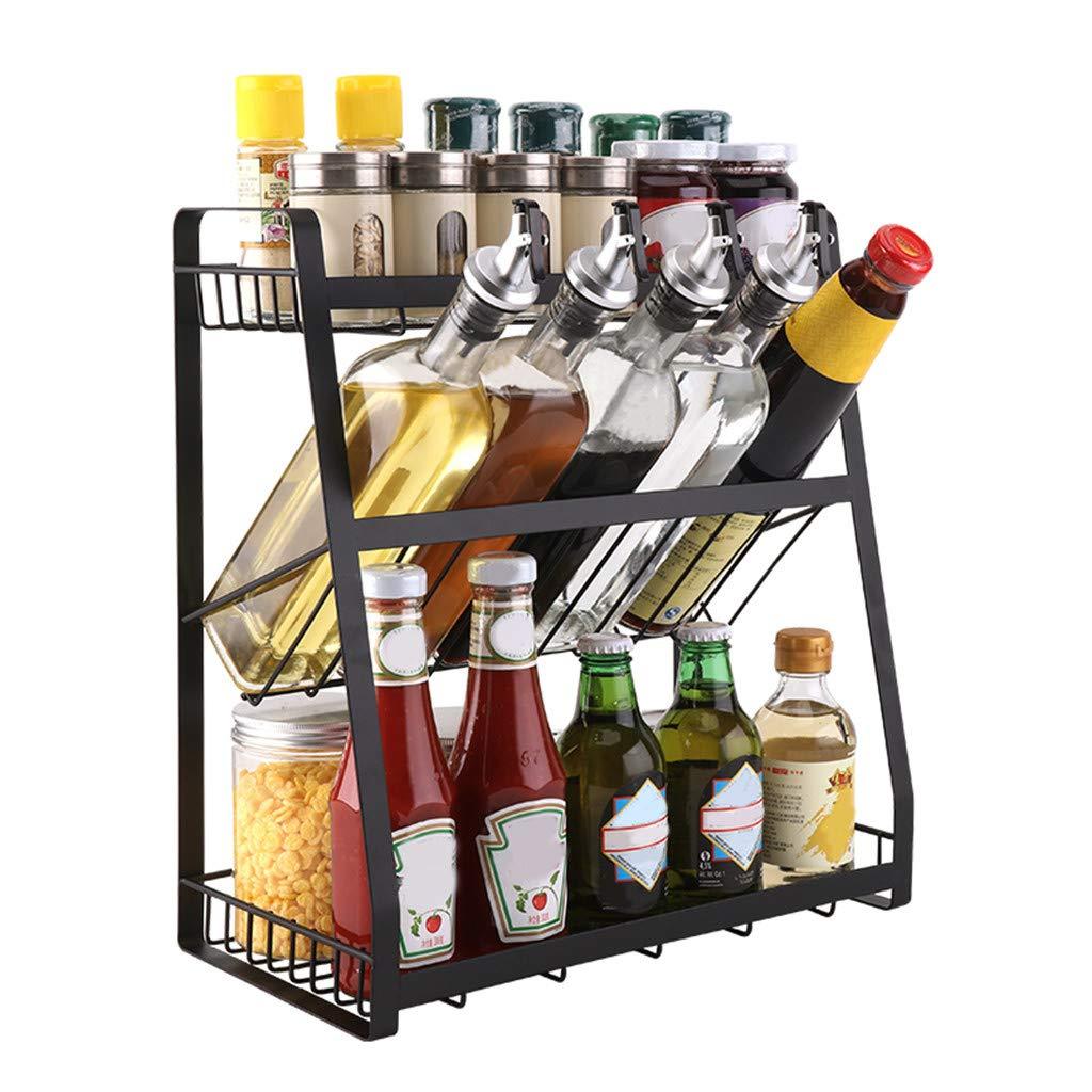 Mostbest 3 Tier Metal Kitchen Cabinet Spice Rack,Standing Corner Shelf, Kitchen Countertop Seasoning Organizer, Jars Bottle Storage Utensils Holder by Mostbest