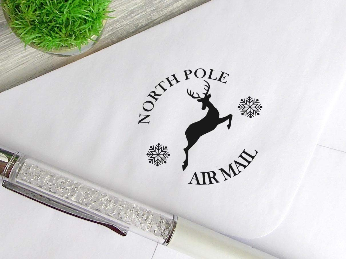 North Pole Stamp Christmas Mail Stamp Custom Made Rubber Stamp for Cards Xmas Gift Wrap Stamp Deer Snowflake Stamp Custom Self Inking Stamp North Pole Postmark