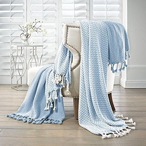 Amrapur Overseas | Monaco 100% Cotton Throw Blanket (Denim) 2 Pack (Denim Throw)