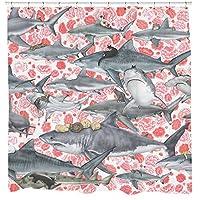 Sharp Shirter Cats Riding Sharks Shower Curtain Set Floral Pirate Bathroom Decor Cool Boho Nautical Artwork Hooks Included