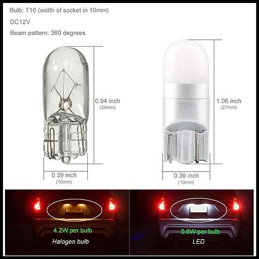 Republe 10PCS T10 Bombilla 3030 1SMD Alto Brillo de 360 degreen de luz Blanca de la Placa del carnet de luz LED: Amazon.es: Coche y moto