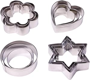 Penta Angel Metal Cookie Cutters Set 12Pcs Stainless Steel Round Cake Vegetable Fruit Biscuit Donuts Sandwiches Cutters Molds for Adults Kids Baking