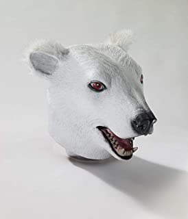 Forum Novelties 69496 Unisex-Adults Mask-Dlx Latex Polar Bear, White, Standard