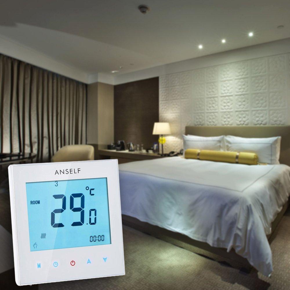 Termostato controlador de temperatura a 3 A programable semanal con pantalla LCD t/áctil para agua calefacci/ón 110 230 V Anself