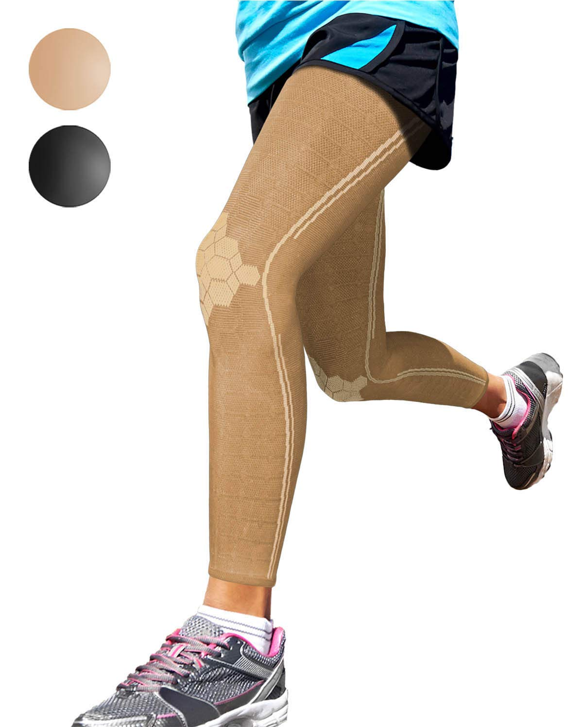 Sparthos Leg Compression Sleeves - Braces for Calves Knees and Thigh Recovery, Support for Athletic Sports Running Runner Stockings Leggings Stabilizer Wrap - Anti Slip - for Men and Women (Beige-M) by Sparthos