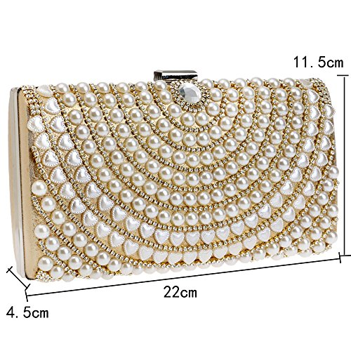 Pearl Lady Size XS Bag Clutch Dinner Crossbody Gold Color Fashion Black Luxury Banquet Bag PIxAwZnqd